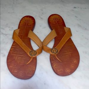 Tan Tory Burch Leather Flip Flop-Sz 8